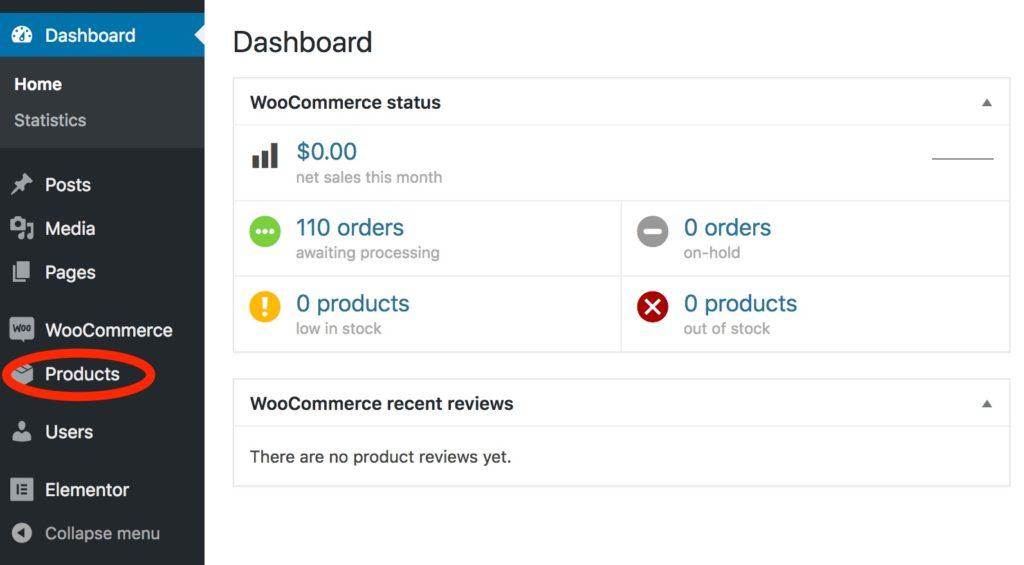 WooCommerce Products Menu Item