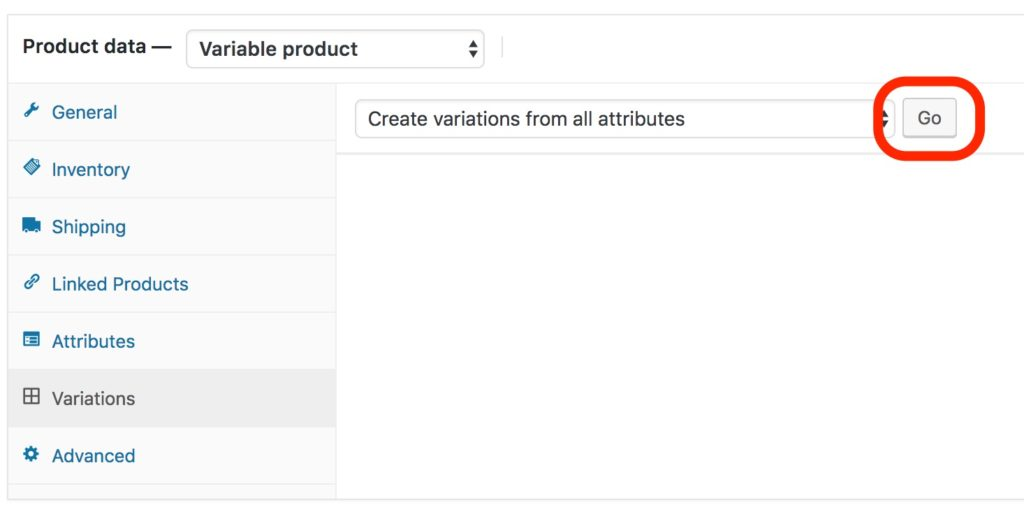 Woocommerce Create Variations Go