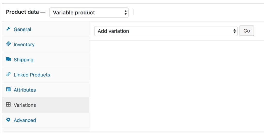 Woocommerce Variations Tab - None Set