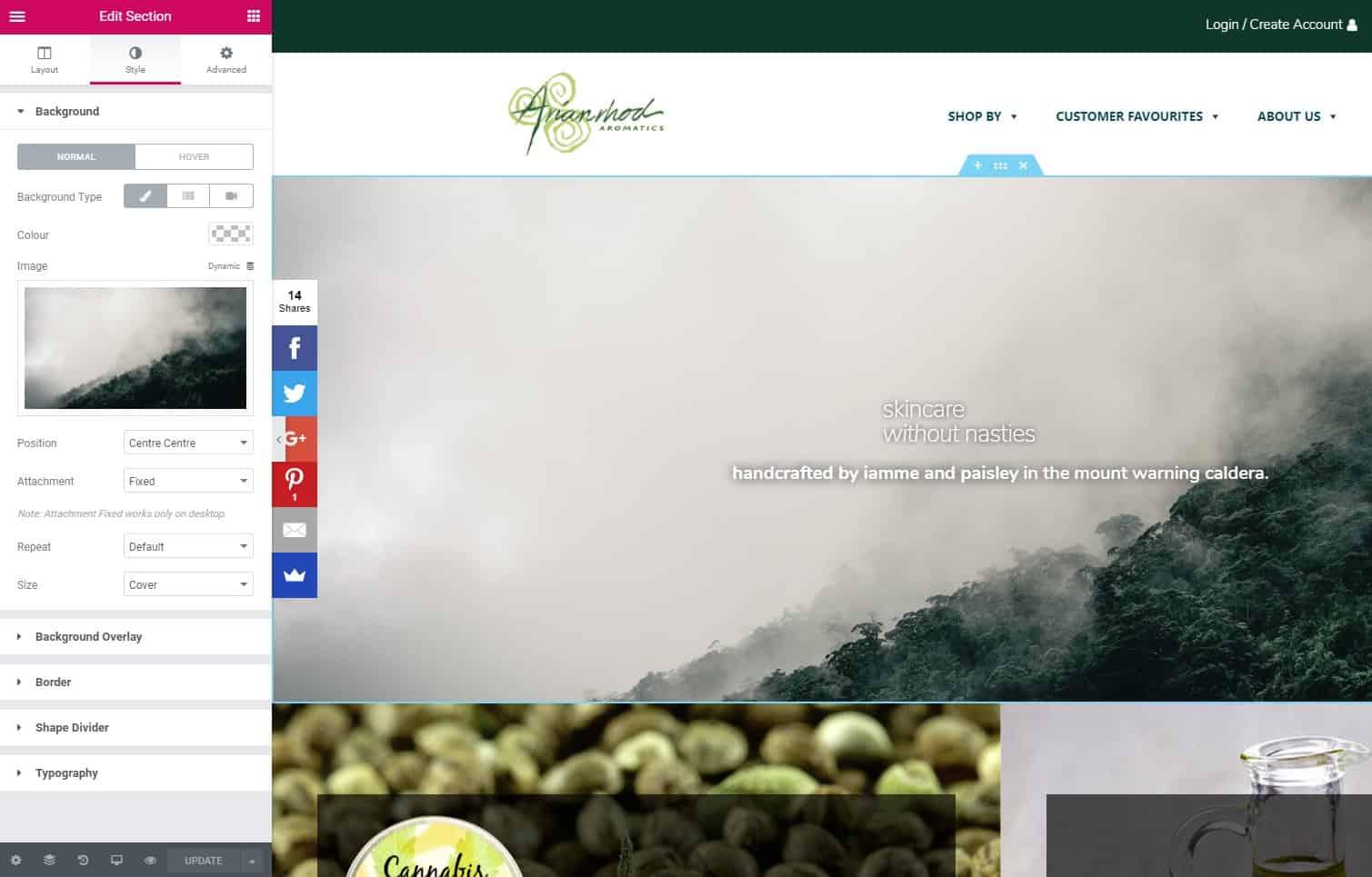 Elementor Screenshot - Arianrhod Aromatics