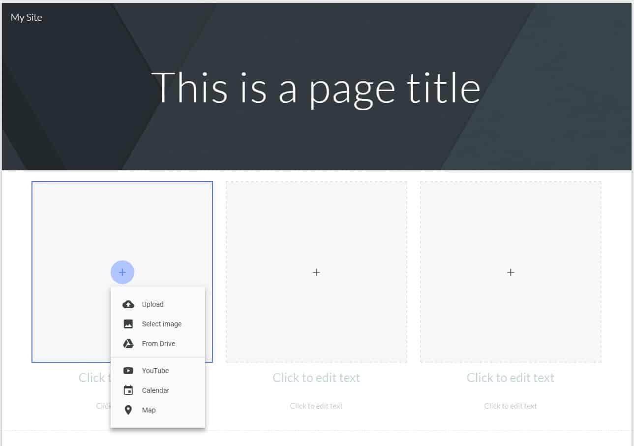 Google Sites Editor Screenshot