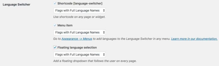 TranslatePress Language Switcher Options