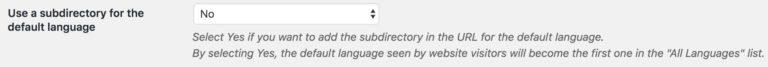 TranslatePress Subdirectory Settings