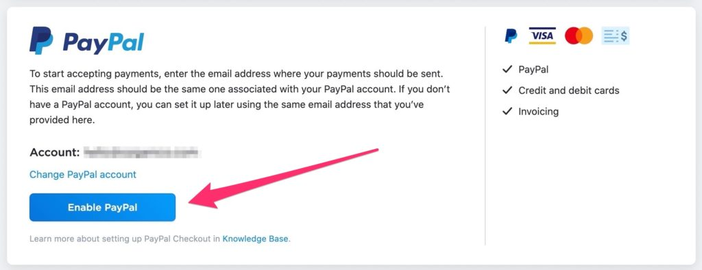 Enable PayPal