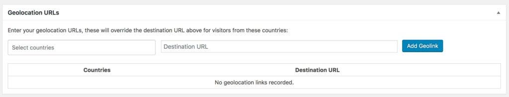 Geolocation URL settings