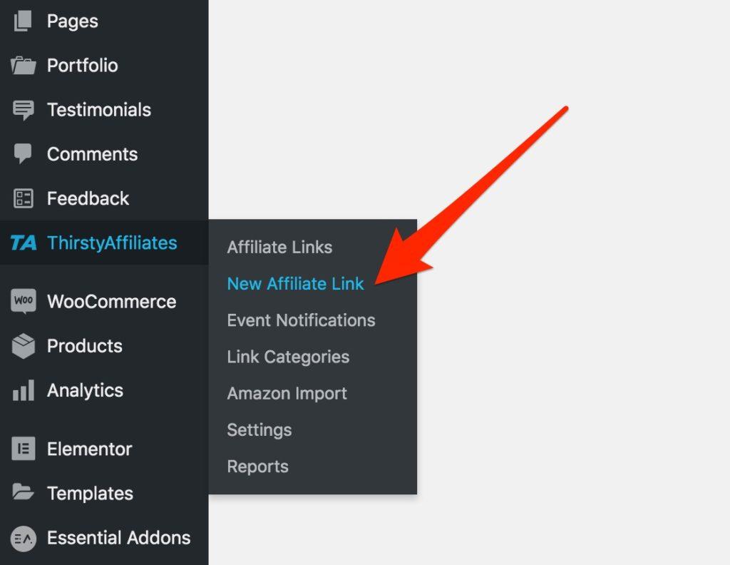 "Click ""New Affiliate Link"""
