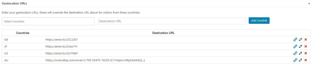 Example Geolocation URLs
