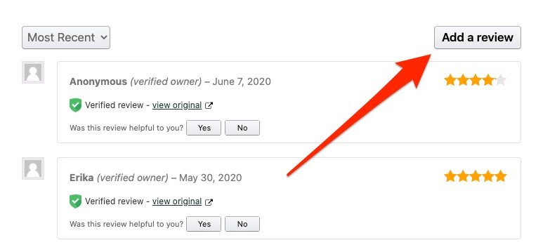 Add a review button on the WooCommerce front end