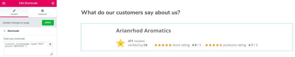 Arianrhod Trust Badge Shortcode in Elementor
