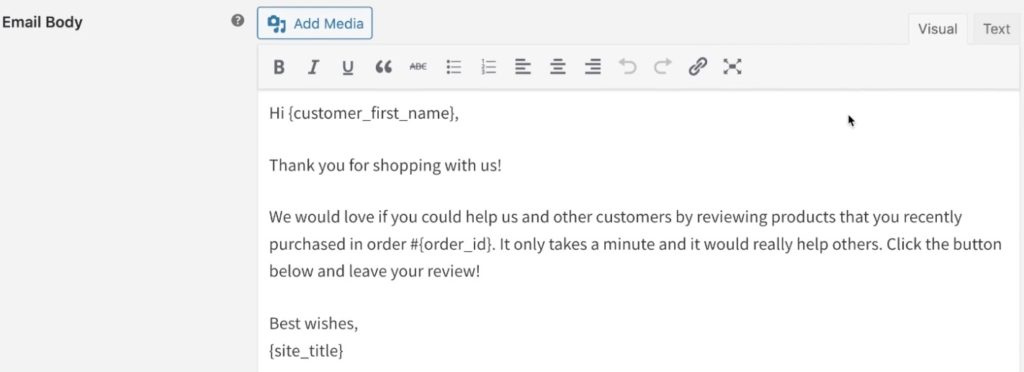 Configure your customer review reminder email body