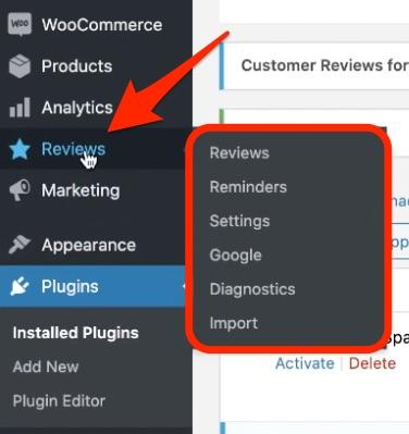 Customer Reviews for WooCommerce dashboard menu