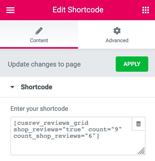 Elementor CusRev Reviews Grid Shortcode