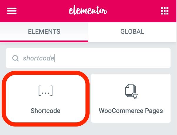 Elementor Shortcode Element