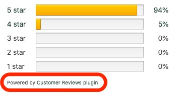 Powered by Customer Reviews plugin text