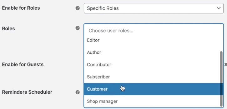Select the roles to send review reminders to