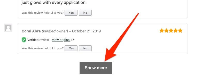 Show more reviews button